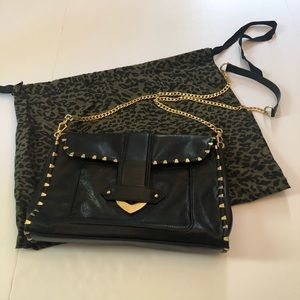 Rebecca Minkoff Black Studded Front Flap Bag